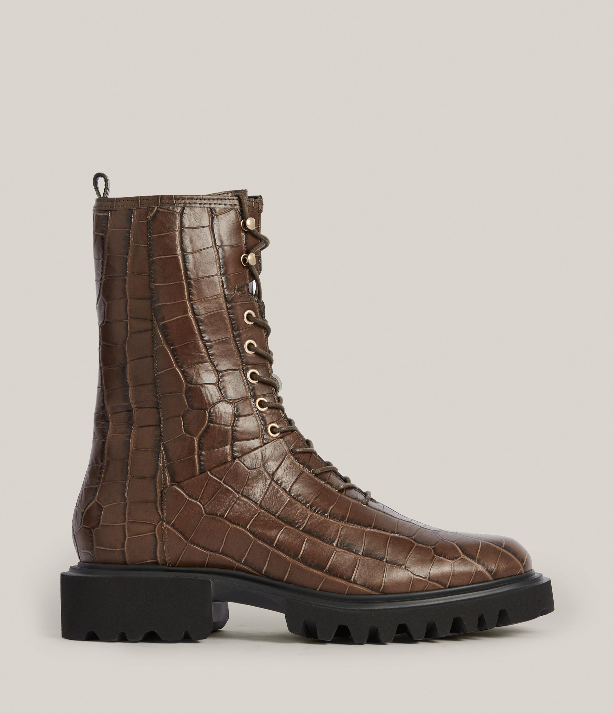 AllSaints Women's Maren Crocodile Leather Boots, Khaki, Size: UK 3/US 5/EU 36