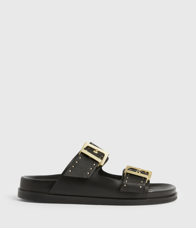 AllSaints Womens Mae Leather Sandals, Black, Size: UK 5/US 7/EU 38