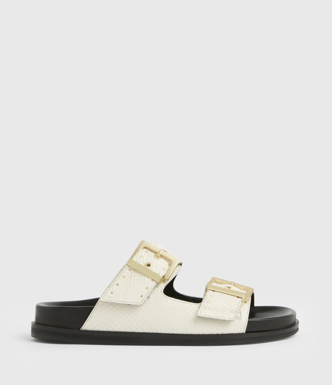 AllSaints Women's Mae Leather Sandals, White, Size: UK 8/US 10/EU 41