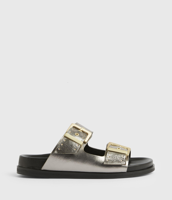AllSaints Women's Mae Leather Sandals, Silver, Size: UK 4/US 6/EU 37