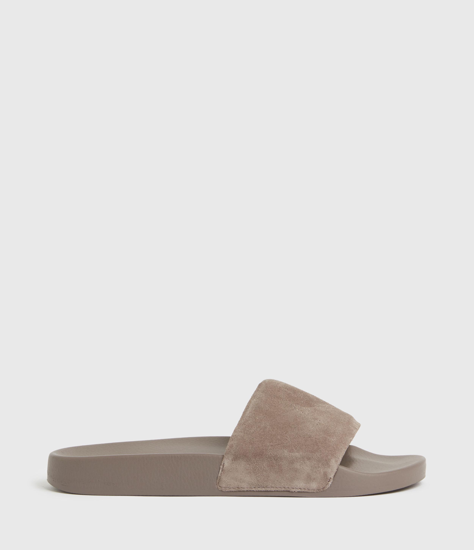 AllSaints Women's Karli Suede Sliders, Light Grey, Size: UK 6/US 8/EU 39