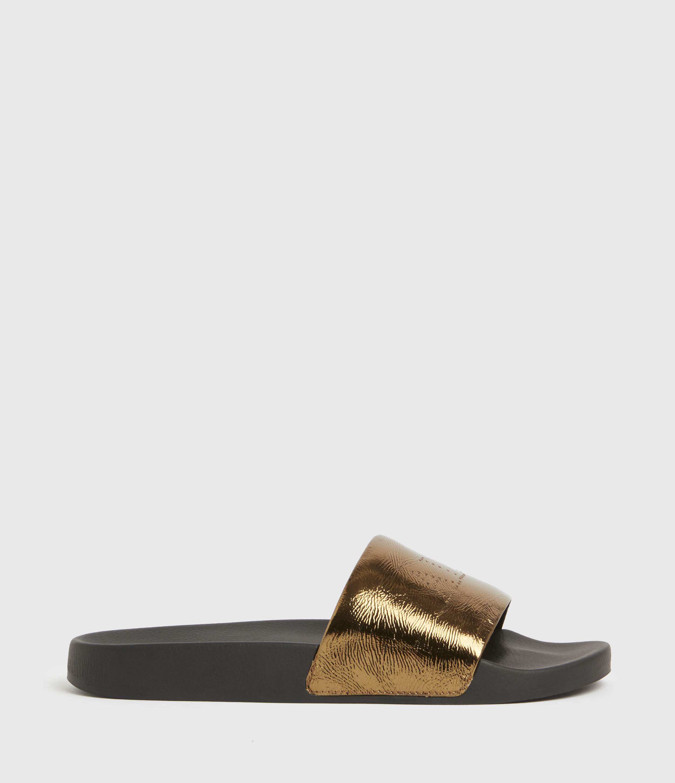 AllSaints Women's Karli Leather Sliders, Gold, Size: UK 5/US 7/EU 38