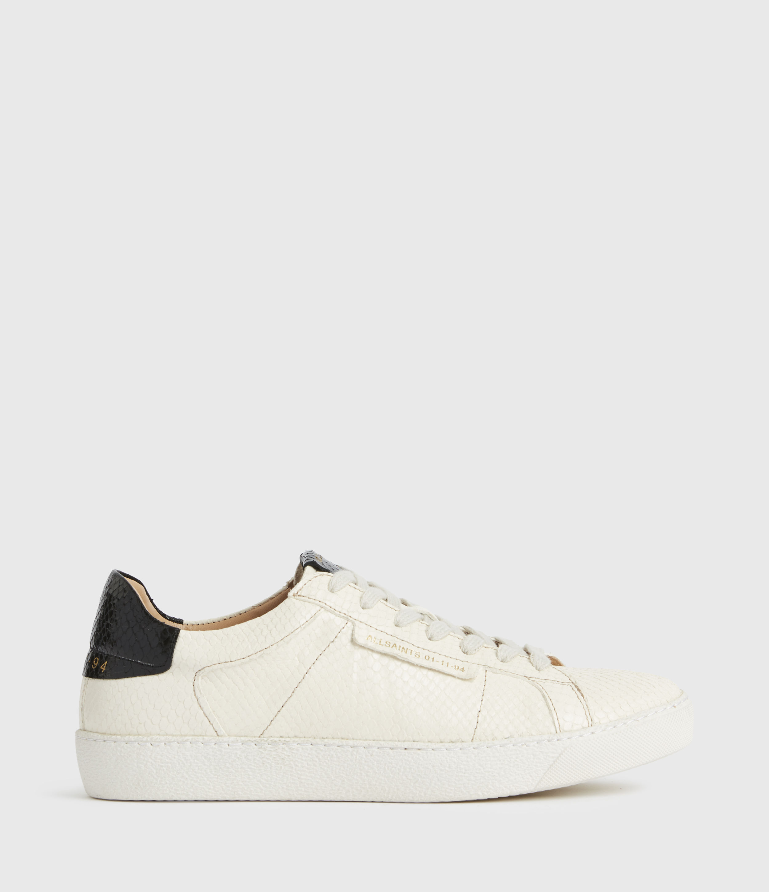 AllSaints Womens Sheer Snake Leather Trainers, White, Size: UK 5/US 7/EU 38
