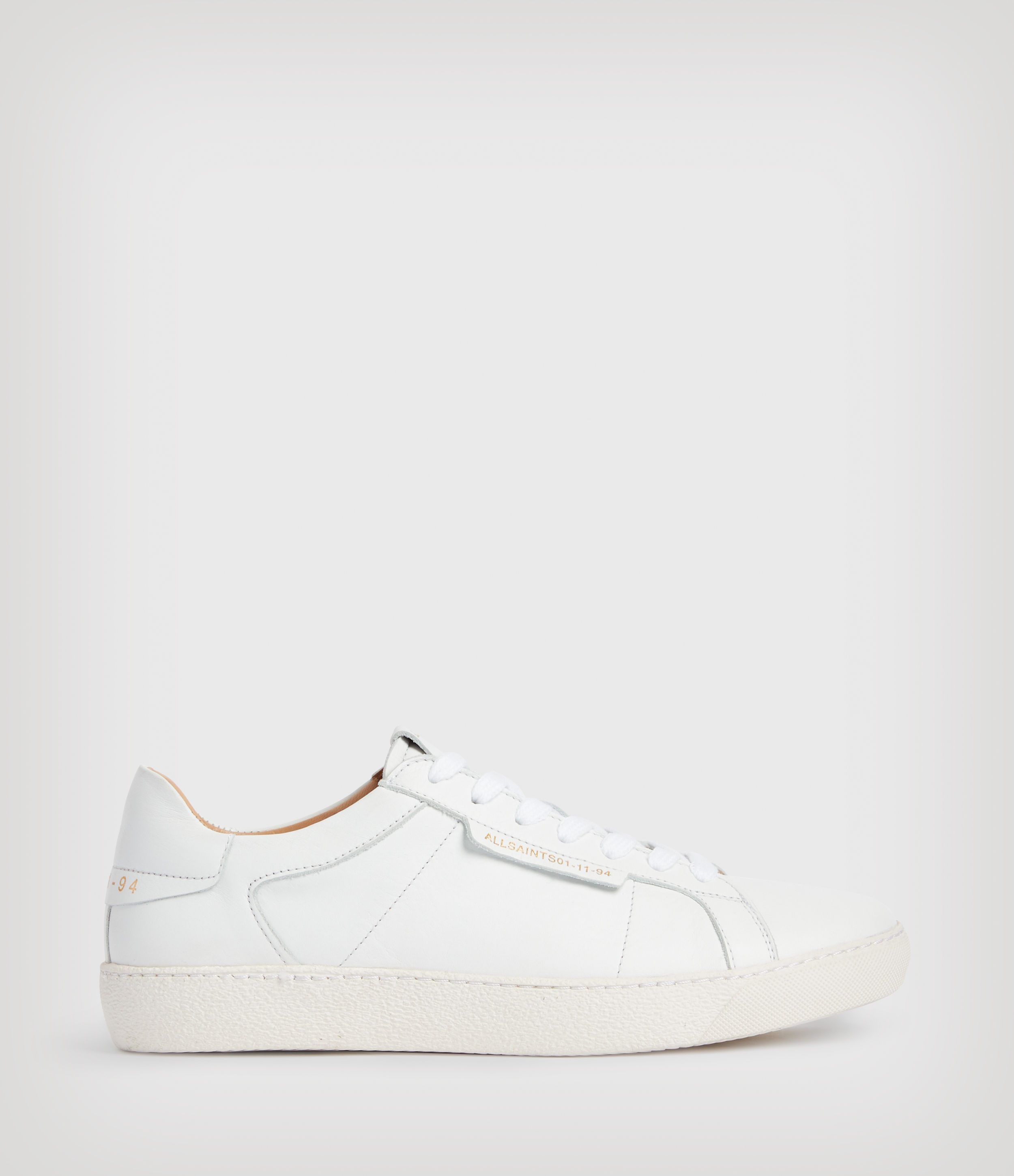 AllSaints Womens Sheer Leather Trainers, White, Size: UK 6/US 8/EU 39