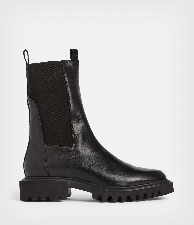 AllSaints Women's Hallie Leather Boots, Black, Size: UK 8/US 10/EU 41