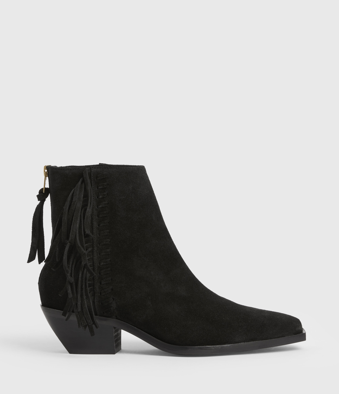 AllSaints Women's Layla Suede Fringe Boots, Black, Size: UK 6/US 8/EU 39