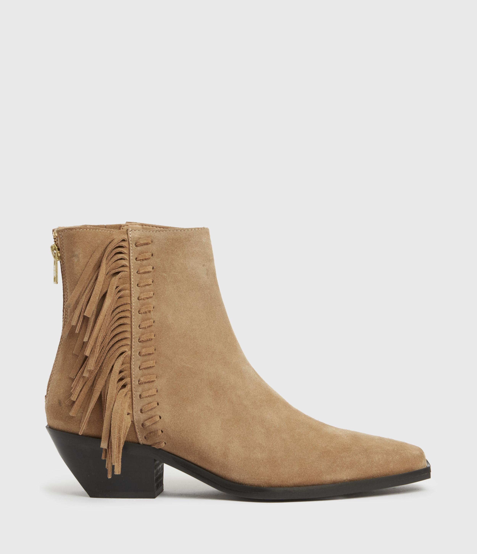 AllSaints Women's Layla Suede Fringe Boots, Brown, Size: UK 8/US 10/EU 41