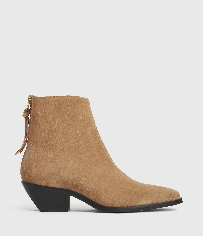 AllSaints Women's Lenora Leather Boots, Cognac, Size: UK 6/US 8/EU 39