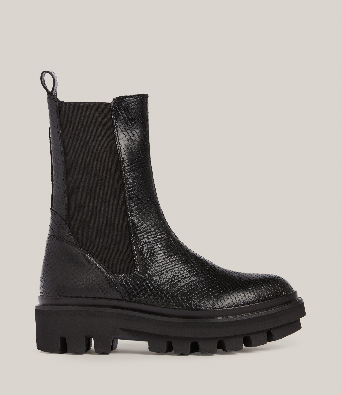 AllSaints Women's Billie Leather Snake Boots, Black, Size: UK 7/US 9/EU 40