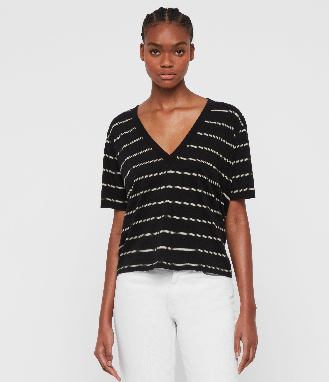 AllSaints Women's Cotton Stripe Lightweight Saro T-Shirt, Black and White, Size: S