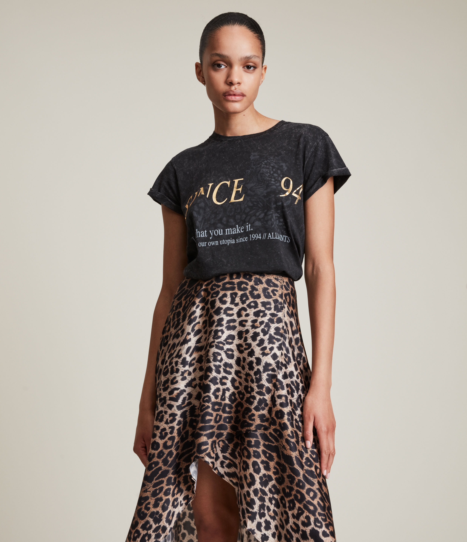AllSaints Women's Lep Anna T-Shirt, Black, Size: 14