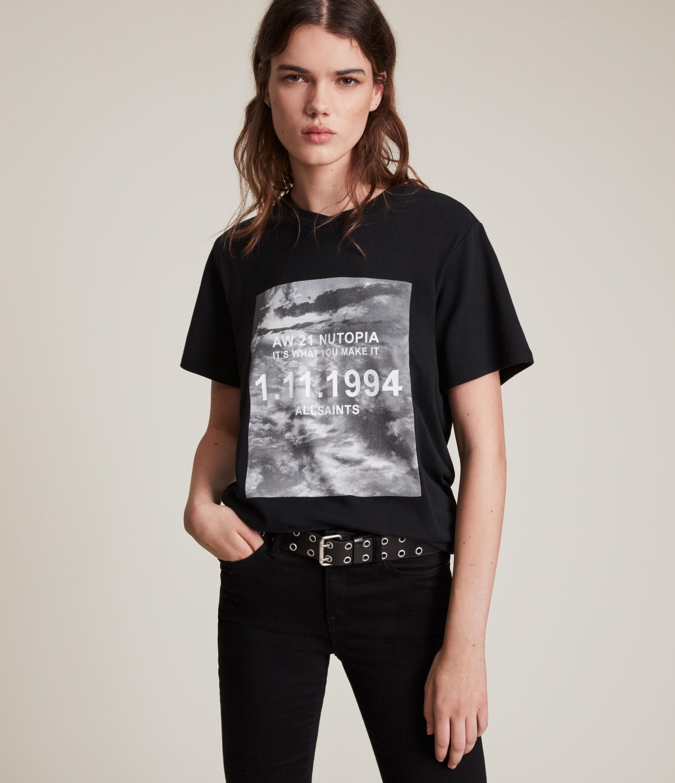 AllSaints Women's Skye Boyfriend T-Shirt, Black, Size: L