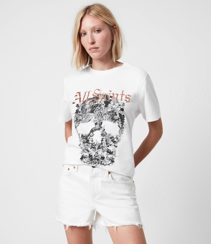 AllSaints Womens Skull Boyfriend T-Shirt, Optic White, Size: S