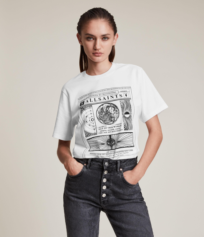AllSaints Women's Adventum Boyfriend T-Shirt, Optic White, Size: M