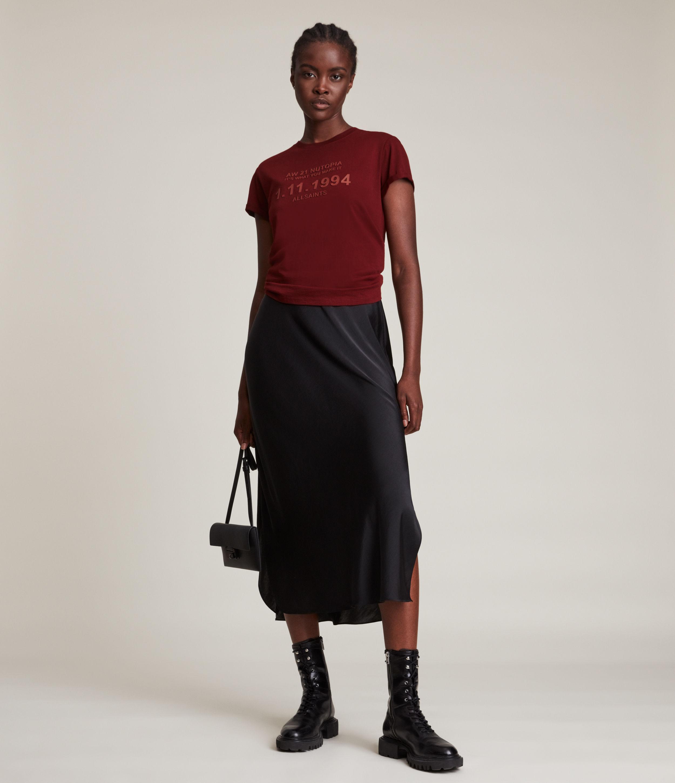 AllSaints Women's Date Anna T-Shirt, Liquid RED, Size: 12