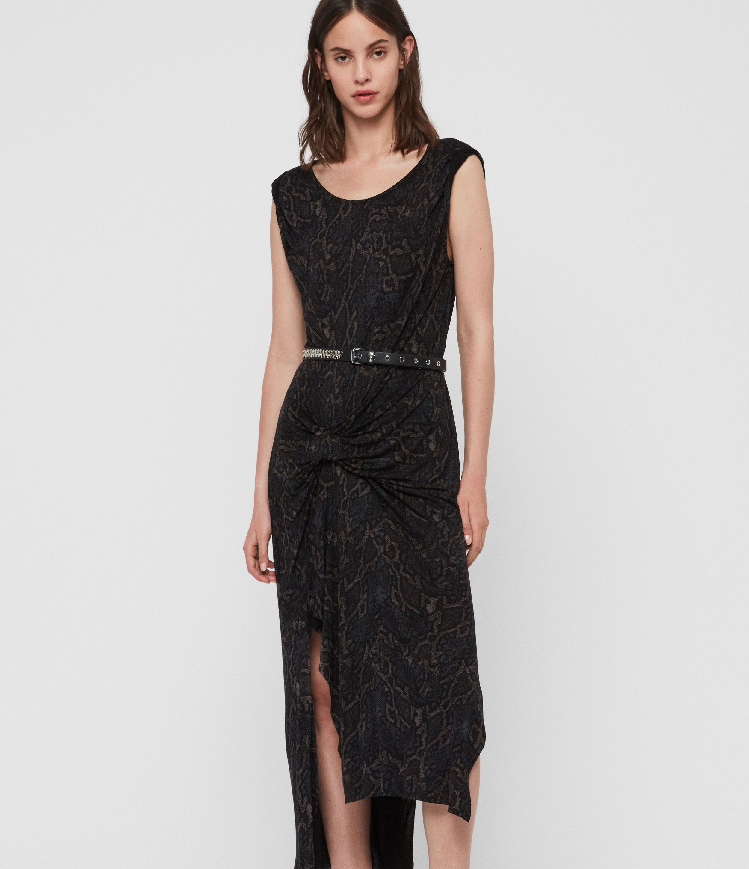 AllSaints Women's Slim Fit Snakecharm Riviera Dress, Black, Size: S