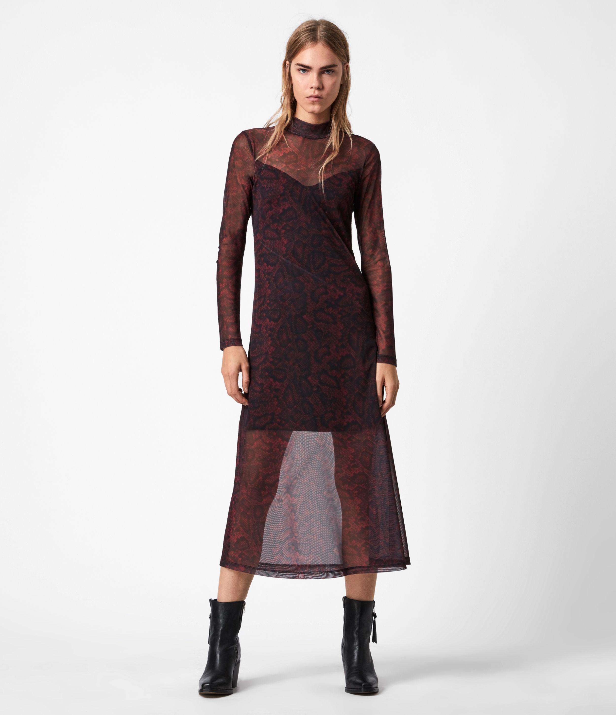 AllSaints Womens Hanna Stanza Dress, Burgundy RED, Size: 12