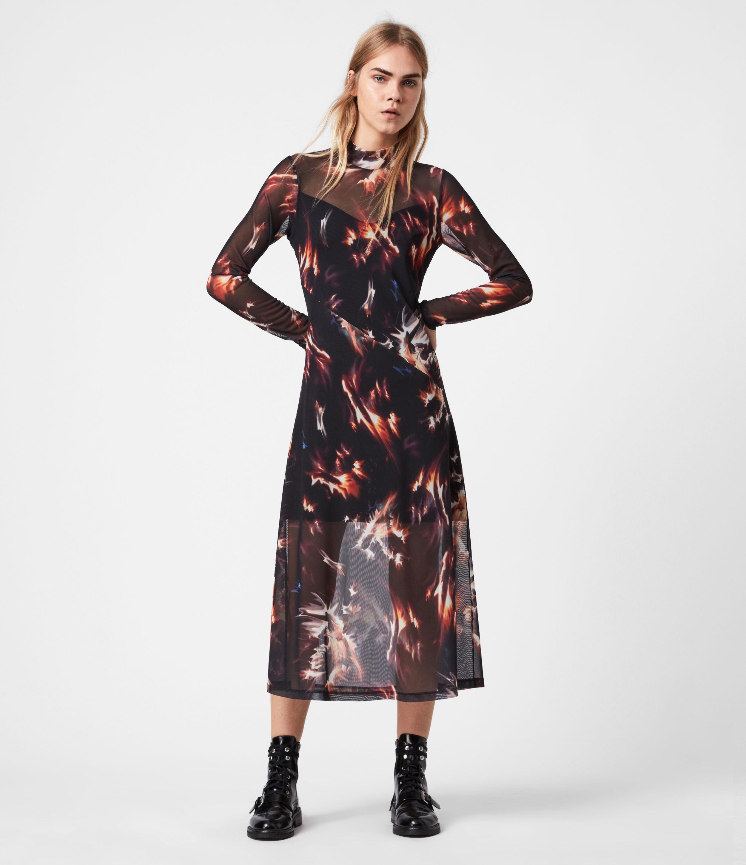 AllSaints Women's Digitally Print Slim Fit Hanna Flames Dress, Black, Blue and Orange, Size: 2