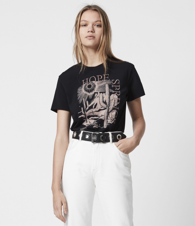 AllSaints Womens Cacti Boyfriend T-Shirt, Black, Size: S