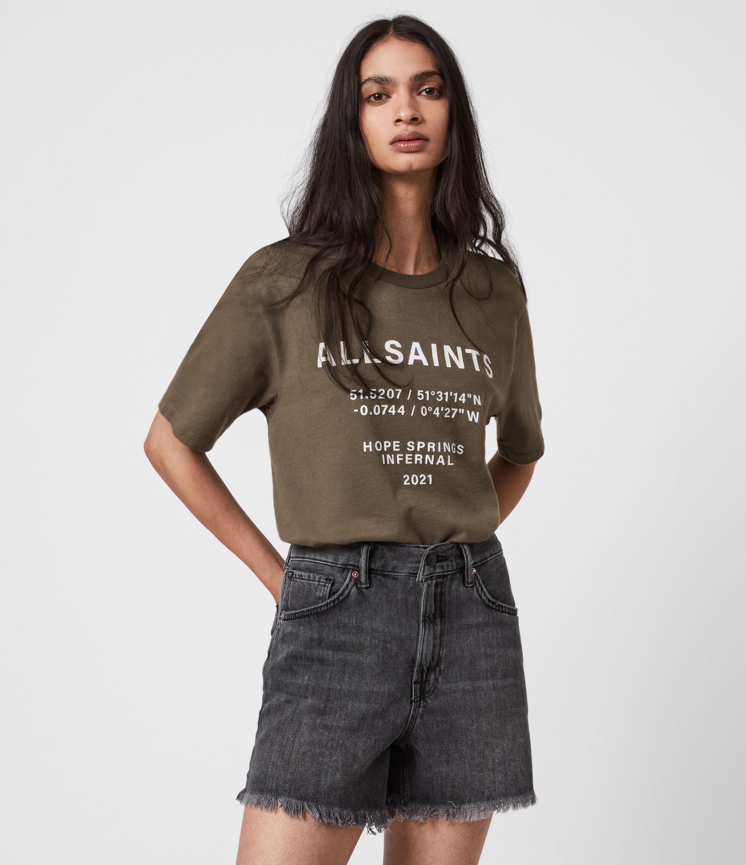 AllSaints Womens Co-ordinates Boyfriend T-Shirt, Khaki Green, Size: L