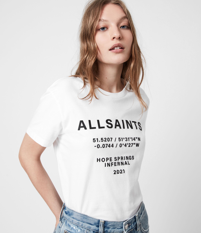 AllSaints Womens Co-ordinates Boyfriend T-Shirt, Optic White, Size: L