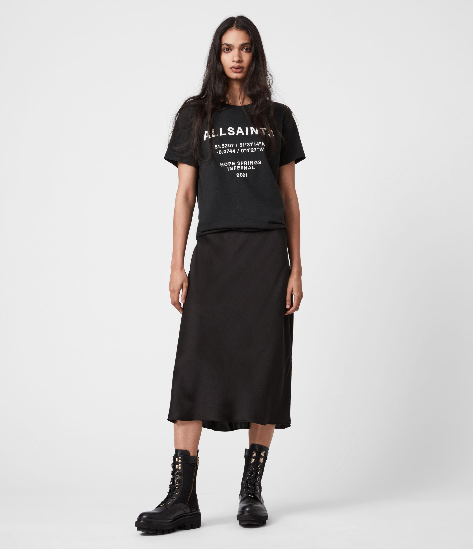 AllSaints Womens Co-ordinates Boyfriend T-Shirt, Black, Size: L