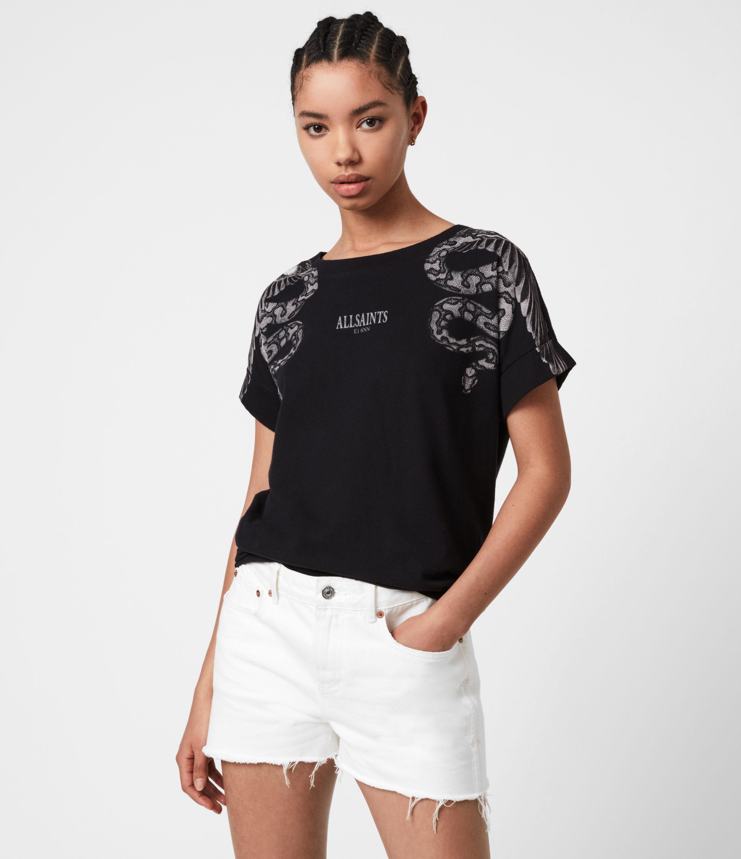 AllSaints Womens Snake Eagle Imo Boy T-Shirt, Black, Size: XS/S