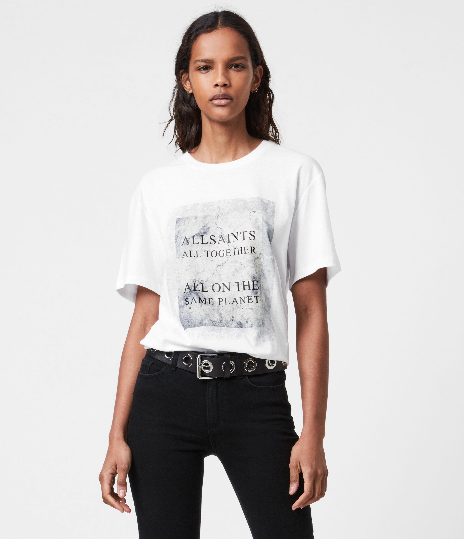 AllSaints Womens Sos Boyfriend T-Shirt, Optic White, Size: XS