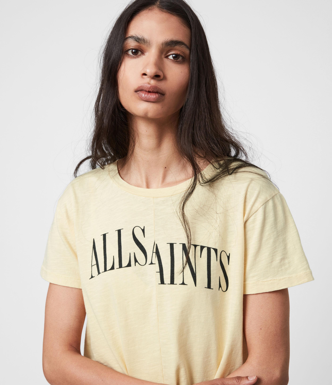 AllSaints Womens Dropout Mic T-Shirt, Sunstone Yellow, Size: 10