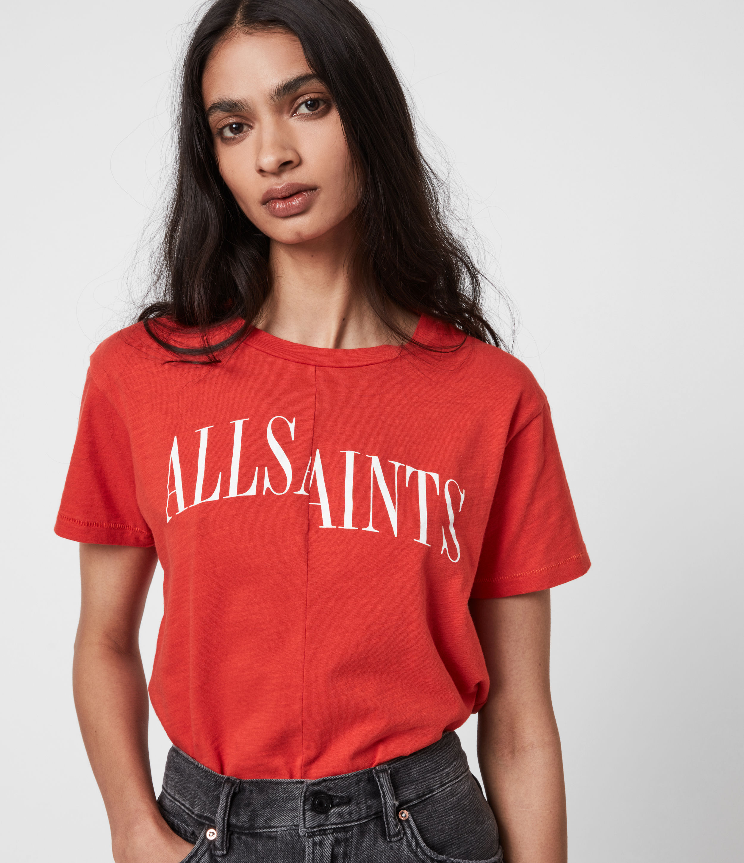 AllSaints Women's Dropout Mic T-Shirt, Bright Orange, Size: 10