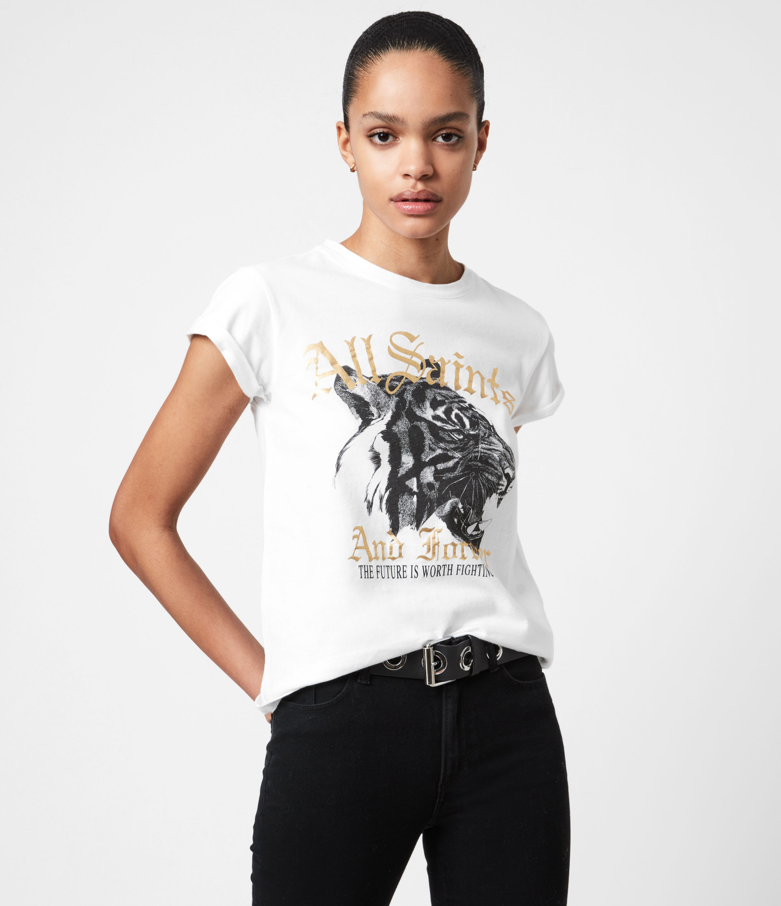 AllSaints Womens Forever Tiger Anna T-Shirt, Optic White, Size: 2