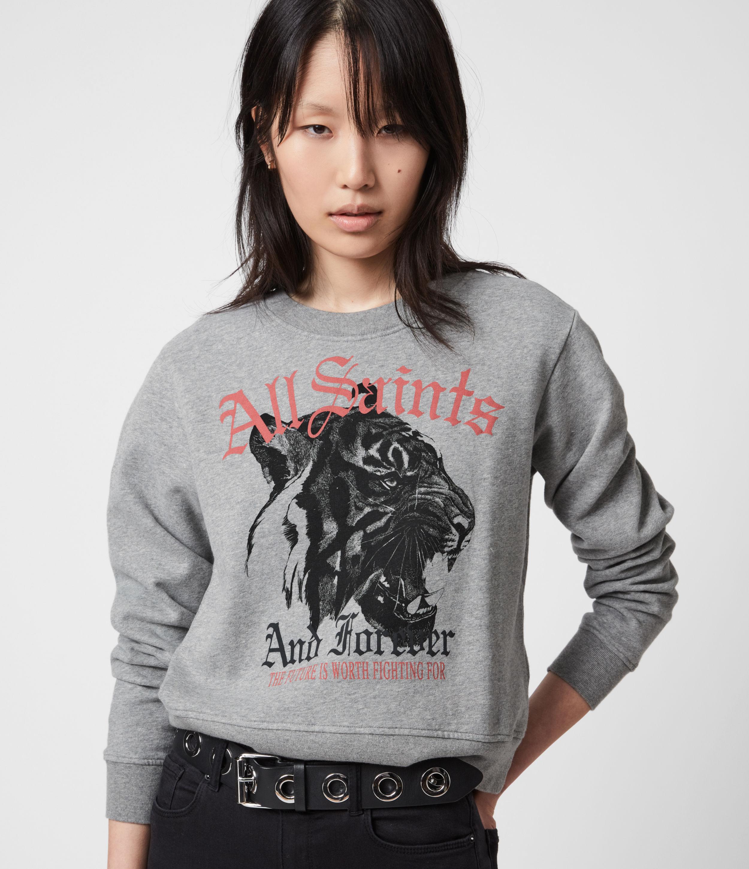 AllSaints Womens Forever Tiger Tessa Sweatshirt, Grey Marl, Size: 2