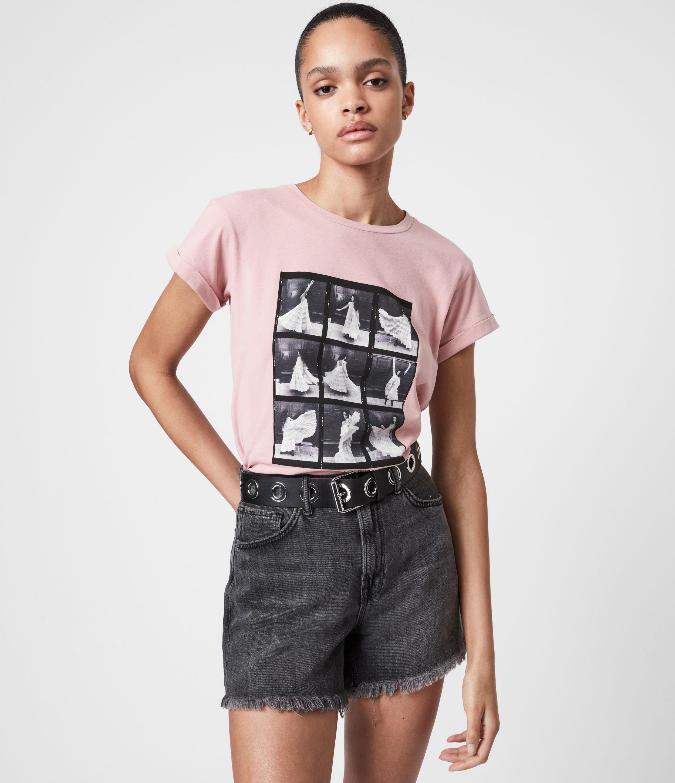 AllSaints Women's Livo Anna T-Shirt, Vintage Pink, Size: 8