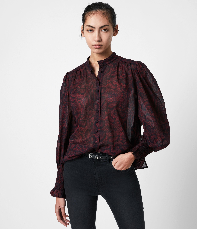 AllSaints Womens Leonie Stanza Shirt, Burgundy Red, Size: 4