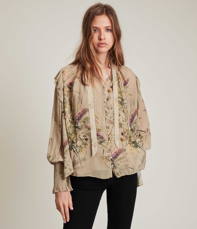 AllSaints Women's Lara Caledonian Shirt, Khaki Green, Size: 8