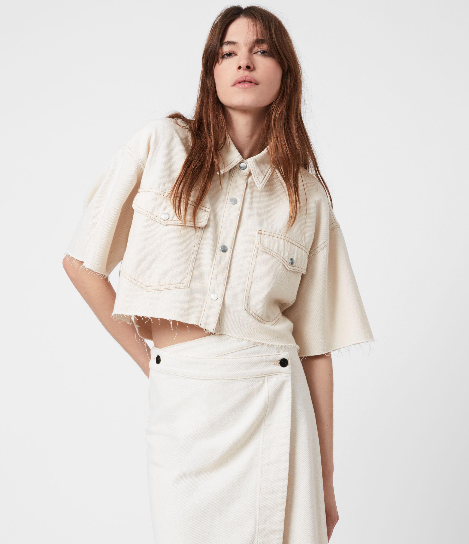 AllSaints Women's Patty Cropped Denim Shirt, Natural White, Size: 8