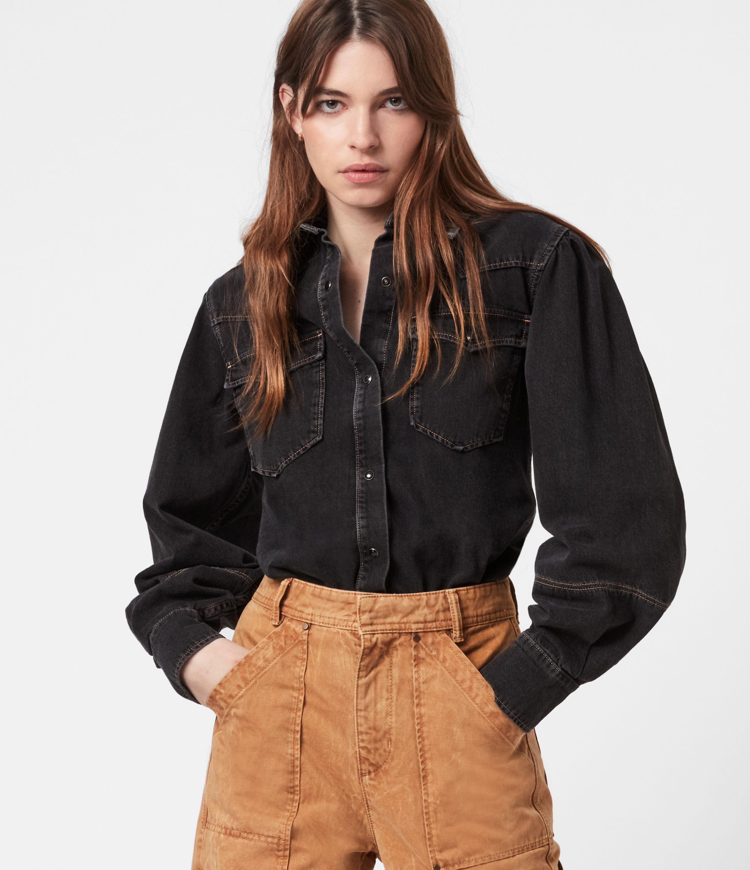 AllSaints Women's Veela Denim Shirt Bodysuit, Washed Black, Size: 12