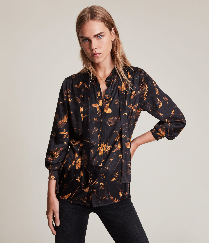 AllSaints Women's Toni Heligan Silk Blend Shirt, Black Gold, Size: 12