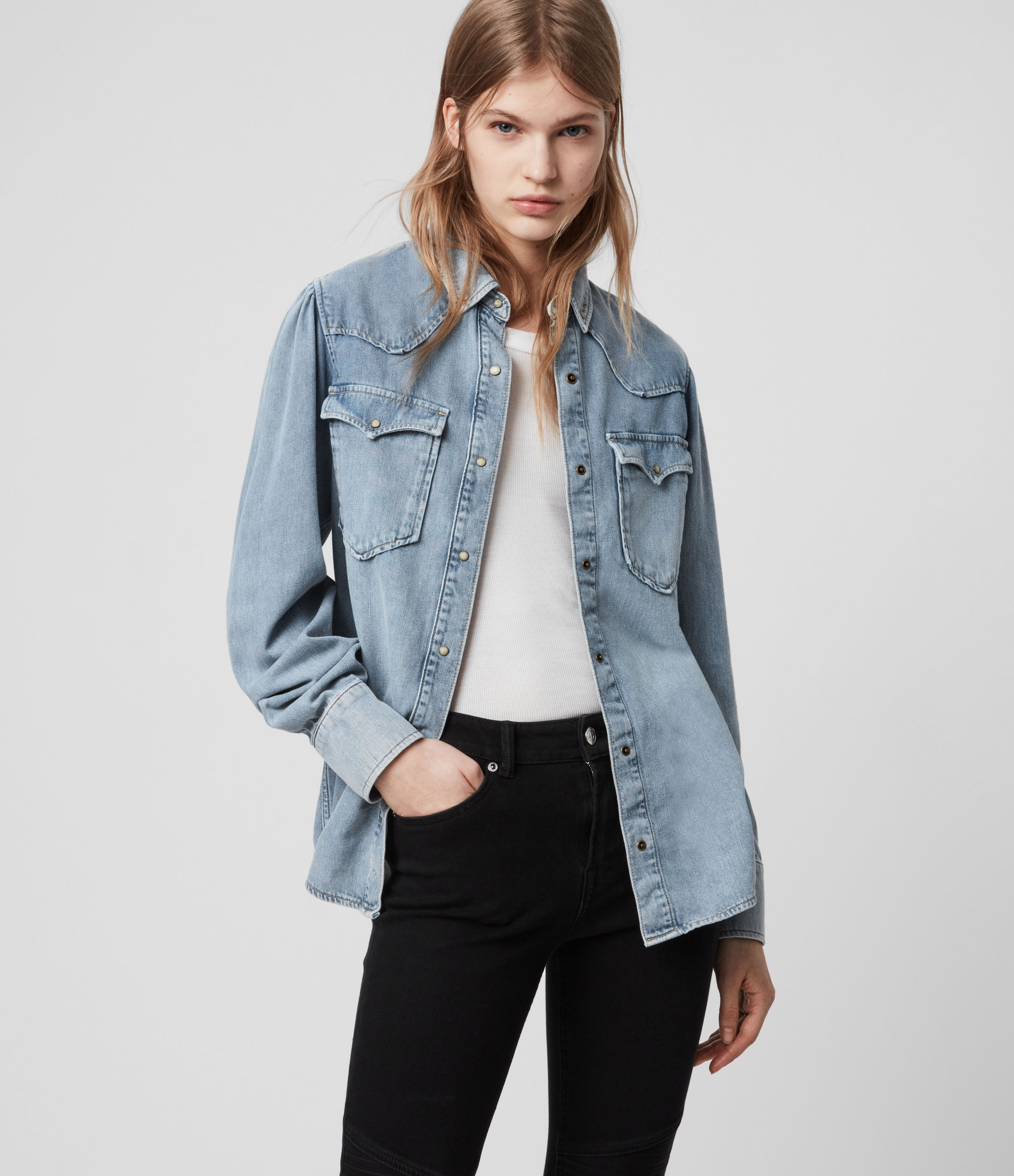 AllSaints Womens Ava Denim Shirt, Light Indigo Blue, Size: 6