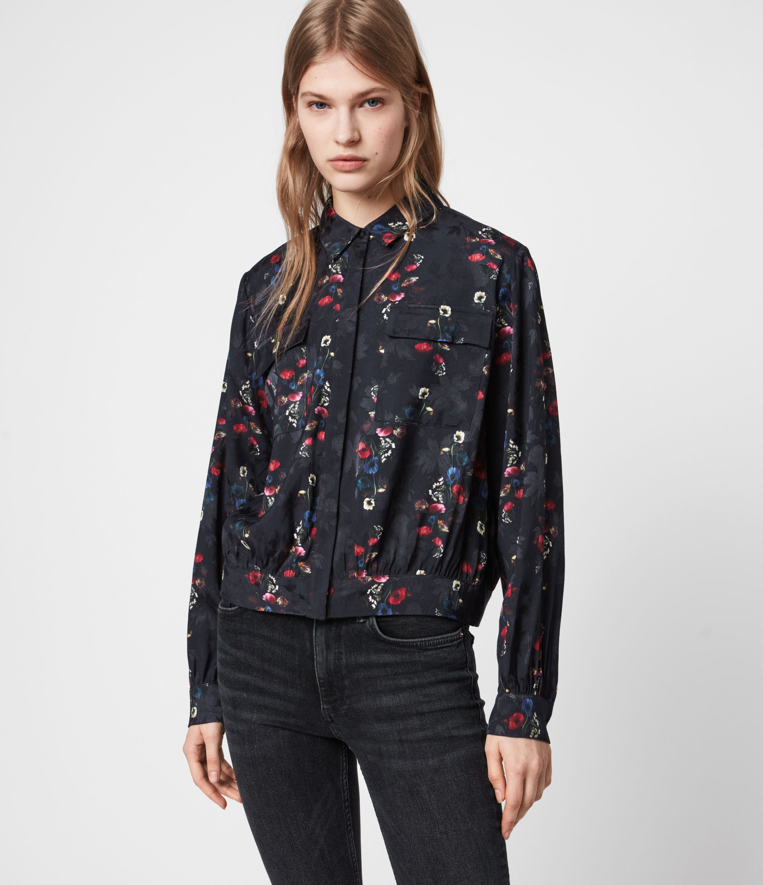 AllSaints Women's Floral Lightweight Adeliza Spirit Shirt, Black, Blue and Red, Size: XS