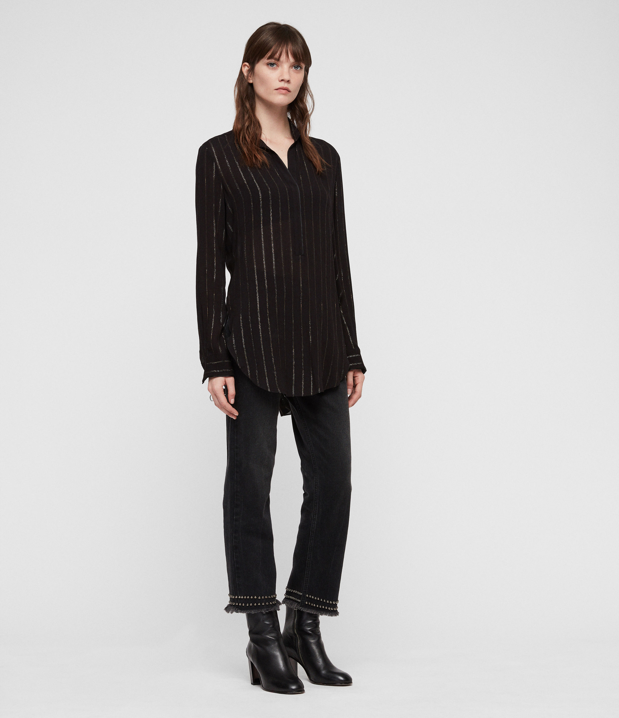 AllSaints Women's Stripe Relaxed Fit Keri Shirt, Black and Gold, Size: S