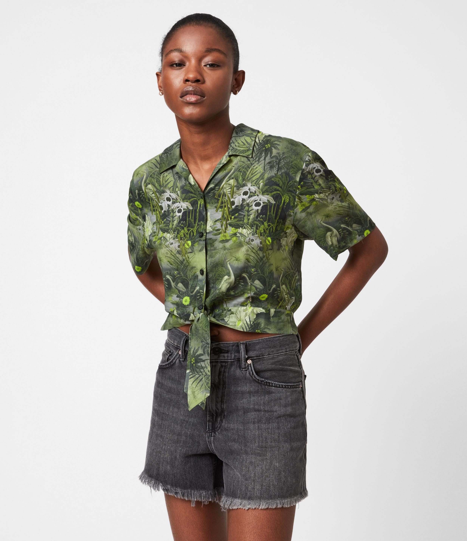 AllSaints Women's Viscose Lightweight Leni Rejuvenate Shirt, Green and White, Size: 2