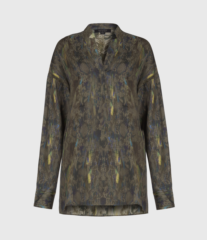 AllSaints Women's Snakeskin Print Regular Fit Andia Masala Shirt, Green, Size: 4