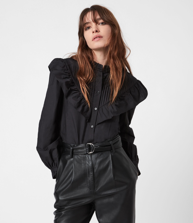 AllSaints Womens Fiala Frill Silk Blend Shirt, Black, Size: 8