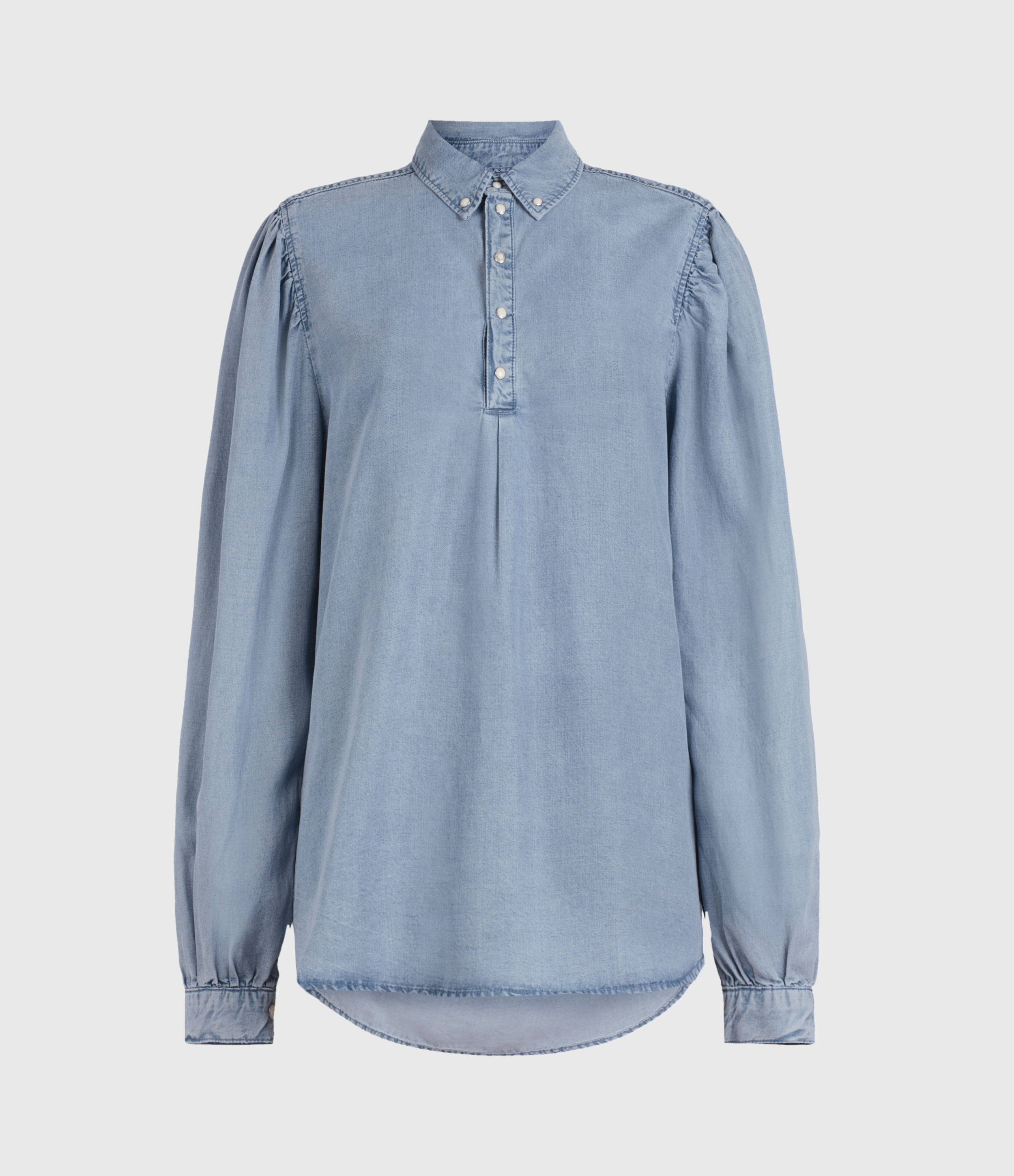 AllSaints Womens Ellen Tencel Shirt, Light Indigo, Size: 6