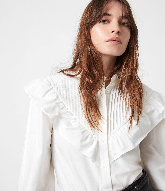 AllSaints Fiala Frill Silk Blend Shirt
