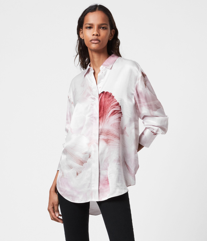 AllSaints Women's Silk Floral Print Regular Fit Bernie Nubila Shirt, pink, Size: 4