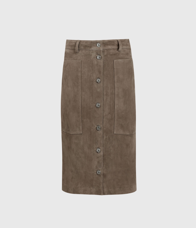 AllSaints Womens Lorel Suede Midi Skirt, Grey, Size: 6