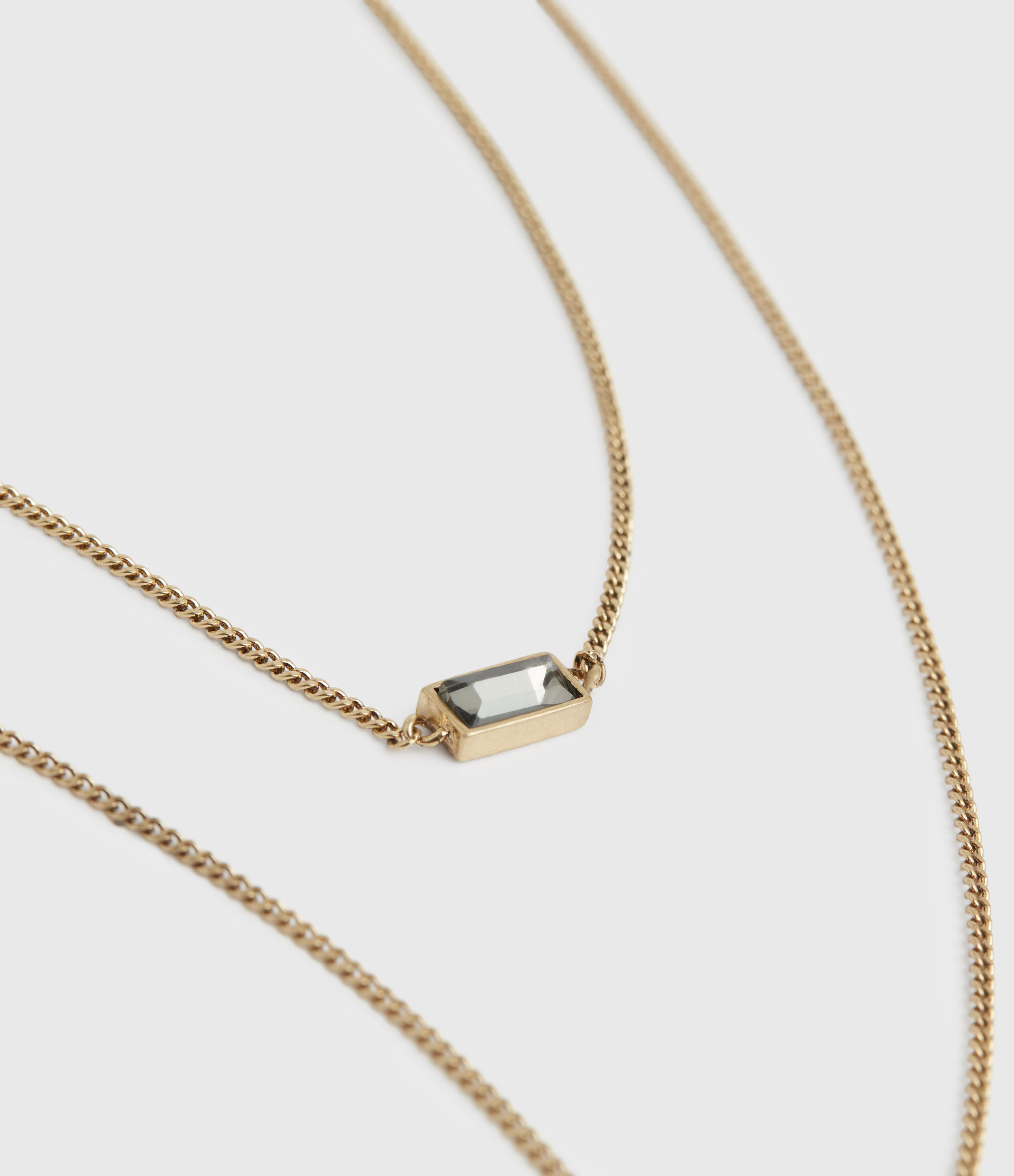 AllSaints Womens Lyric Gold-Tone Double Layer Necklace, Warm Brass