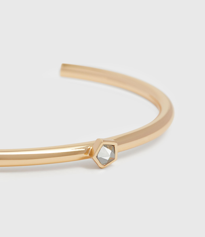 AllSaints Women's Brass Clarity Tone Semi-Precious Crystal Quartz Cuff Bracelet, Gold